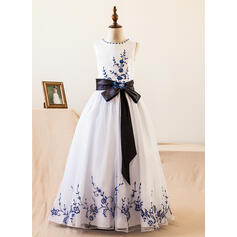 A-Line/Princess Floor-length Flower Girl Dress - Organza/Satin Sleeveless Scoop Neck With Sash/Beading/Bow(s)
