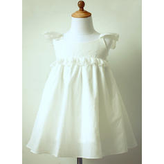 Empire Knee-length Flower Girl Dress - Cotton Sleeveless Scoop Neck With Ruffles/Lace/V Back