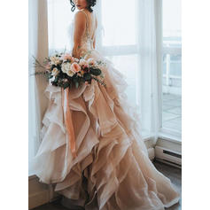 A-Line/Princess Sweetheart Sweep Train Wedding Dresses With Cascading Ruffles