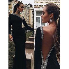 Trumpet/Mermaid V-neck Sweep Train Velvet Prom Dresses With Beading