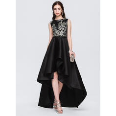 A-Line Scoop Neck Asymmetrical Satin Evening Dress With Lace