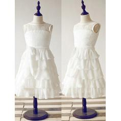 A-Line/Princess Scoop Neck Ankle-length With Ruffles/Sash Chiffon/Lace Flower Girl Dresses
