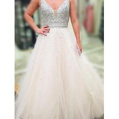 A-Line/Princess V-neck Floor-Length Evening Dresses With Beading Sequins