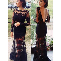 Trumpet/Mermaid Scoop Neck Sweep Train Lace Prom Dresses With Lace