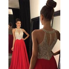 A-Line/Princess Floor-Length Prom Dresses Scoop Neck Chiffon Sleeveless