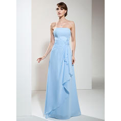 A-Line/Princess Chiffon Bridesmaid Dresses Beading Appliques Lace Cascading Ruffles Strapless Sleeveless Floor-Length (007001746)