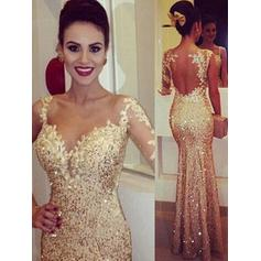 Trumpet/Mermaid Floor-Length Prom Dresses Scoop Neck Sequined Long Sleeves (018144667)