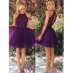 A-Line/Princess Scoop Neck Short/Mini Tulle Cocktail Dresses With Beading
