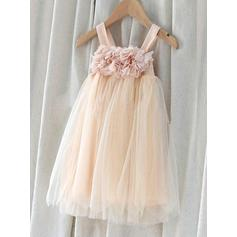 Princess Square Neckline Empire/A-Line/Princess Flower Girl Dresses Knee-length Chiffon/Tulle Sleeveless