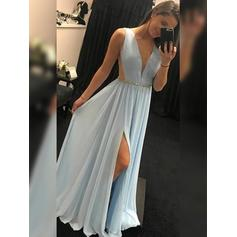 A-Line/Princess V-neck Floor-Length Prom Dresses With Ruffle Beading Split Front