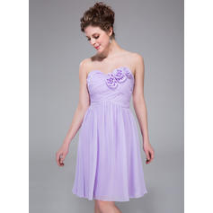 A-Line/Princess Sweetheart Knee-Length Bridesmaid Dresses With Ruffle Flower(s) (007037325)