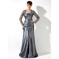 A-Line/Princess Taffeta Sleeveless One-Shoulder Sweep Train Lace Up Mother of the Bride Dresses (008006082)