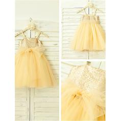 A-Line/Princess Square Neckline Knee-length With Sequins Tulle/Sequined Flower Girl Dresses