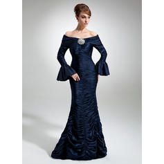 Trumpet/Mermaid Charmeuse Long Sleeves Off-the-Shoulder Floor-Length Zipper Up Mother of the Bride Dresses