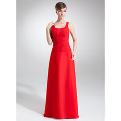 A-Line/Princess Chiffon Bridesmaid Dresses Ruffle Scoop Neck Sleeveless Floor-Length (007001869)