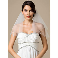 Shoulder Veils Tulle Two-tier Classic With Beaded Edge Wedding Veils