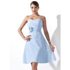 Empire Sweetheart Knee-Length Chiffon Bridesmaid Dress With Ruffle Flower(s)