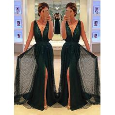 A-Line/Princess Tulle Prom Dresses Sash Appliques Lace Split Front V-neck Sleeveless Sweep Train