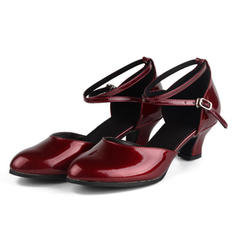 Women's Ballroom Pumps Patent Leather With Ankle Strap Dance Shoes