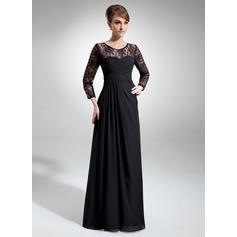 A-Line/Princess Chiffon Lace Long Sleeves Scoop Neck Floor-Length Zipper Up Mother of the Bride Dresses