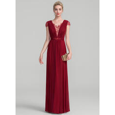 A-Line/Princess V-neck Floor-Length Jersey Evening Dress With Ruffle Beading Sequins (017130709)