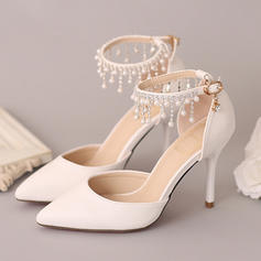 Women's Closed Toe Pumps Stiletto Heel Leatherette With Imitation Pearl Rhinestone Wedding Shoes