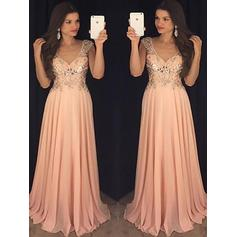 A-Line/Princess V-neck Floor-Length Chiffon Evening Dresses With Sequins