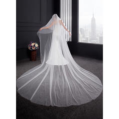 Cathedral Bridal Veils Two-tier Classic With Cut Edge 137.8 in (350cm) Wedding Veils