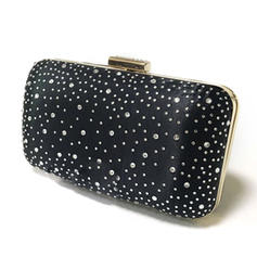 Clutches/Wristlets Wedding/Ceremony & Party/Casual & Shopping Satin/Crystal/ Rhinestone Clip Closure Charming Clutches & Evening Bags