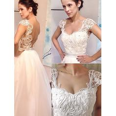 A-Line/Princess Sweetheart Sweep Train Wedding Dresses With Beading (002148021)
