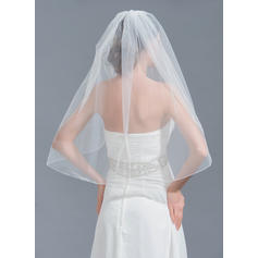 Elbow Bridal Veils Tulle One-tier Classic With Beading Wedding Veils