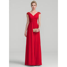 A-Line/Princess V-neck Floor-Length Jersey Evening Dress With Ruffle Lace (017105892)