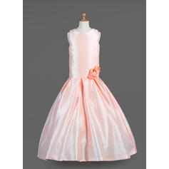 Glamorous Scoop Neck A-Line/Princess Flower Girl Dresses Floor-length Taffeta Sleeveless (010014651)