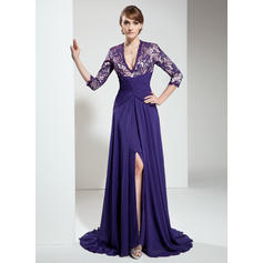 A-Line/Princess Chiffon Lace 3/4 Sleeves V-neck Sweep Train Zipper Up Mother of the Bride Dresses (008211206)