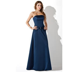 A-Line/Princess Satin Bridesmaid Dresses Ruffle Beading Strapless Sleeveless Floor-Length (007001806)