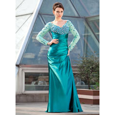 Sheath/Column Charmeuse Long Sleeves Off-the-Shoulder Sweep Train Zipper Up Mother of the Bride Dresses