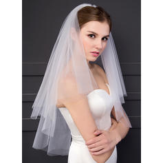 Elbow Bridal Veils Two-tier Classic With Cut Edge 59.06 in (150cm) Wedding Veils