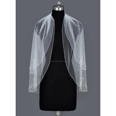 Fingertip Bridal Veils Tulle Two-tier Oval With Beaded Edge Wedding Veils