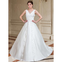A-Line/Princess Sweetheart Chapel Train Wedding Dresses With Lace Beading Sequins (002001221)