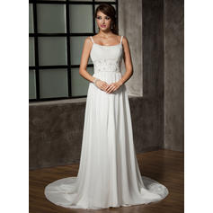 A-Line/Princess Sweetheart Chapel Train Wedding Dresses With Ruffle Beading Sequins (002196842)