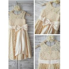 A-Line/Princess Scoop Neck Tea-length With Sash/Bow(s) Lace Flower Girl Dresses
