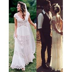 V-neck A-Line/Princess Wedding Dresses Lace Short Sleeves Floor-Length