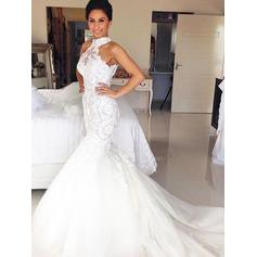 Magnificent Halter Trumpet/Mermaid Wedding Dresses Court Train Tulle
