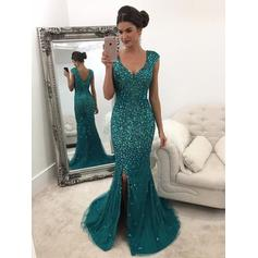 A-Line/Princess Tulle Prom Dresses Beading Sequins V-neck Sleeveless Sweep Train