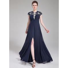 A-Line/Princess Scoop Neck Floor-Length Evening Dresses With Ruffle Beading Sequins Split Front