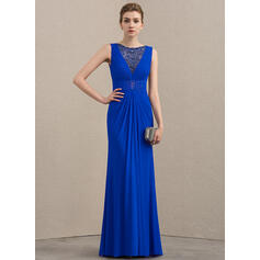 Sheath/Column Scoop Neck Floor-Length Jersey Mother of the Bride Dress With Beading Sequins
