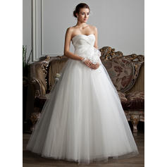 Ball-Gown Sweetheart Floor-Length Wedding Dresses With Ruffle Beading Flower(s)