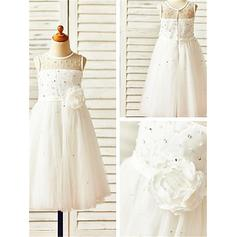 A-Line/Princess Scoop Neck Tea-length With Beading/Flower(s) Tulle Flower Girl Dresses