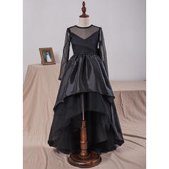 Ball Gown Scoop Neck Knee-length With Bow(s) Taffeta/Tulle/Lace Flower Girl Dresses