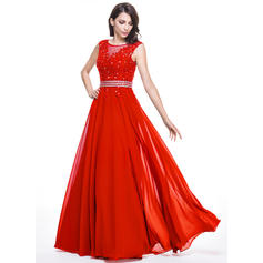 A-Line/Princess Scoop Neck Floor-Length Evening Dresses With Beading Appliques Lace Sequins